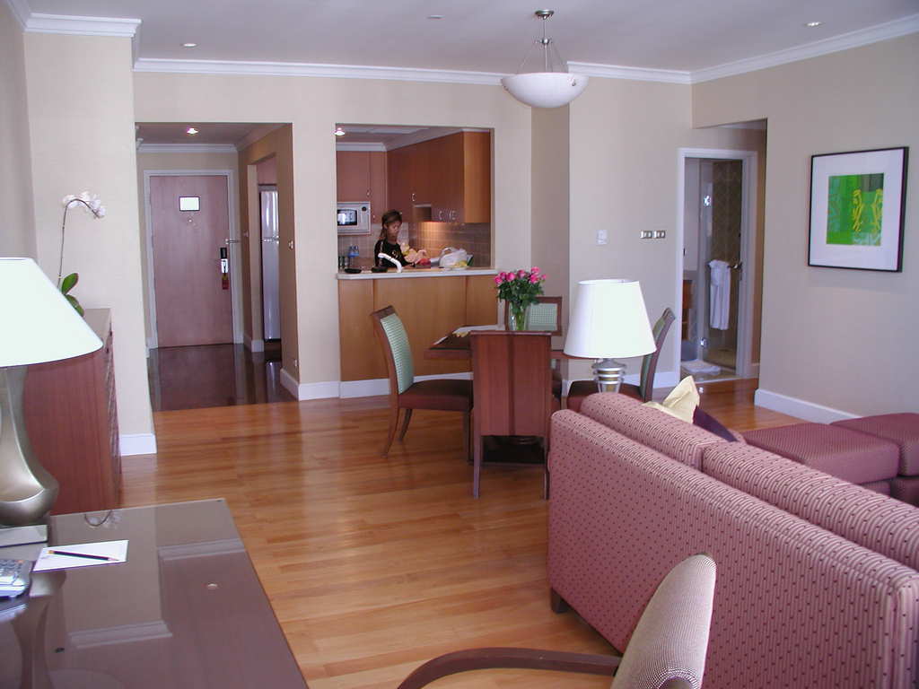 Living Room And Kitchen Of The Matfair Marriott Executive Aerviced  Apartments