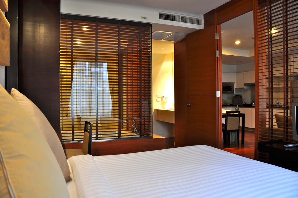 Bedroom of the 1 bedroom apartment at Amanta Ratchada Serviced Apartments