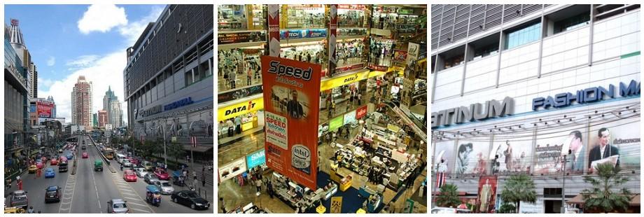 Petchaburi Road, home to Panthip Plaza, Platinum Mall and Pratunum Market